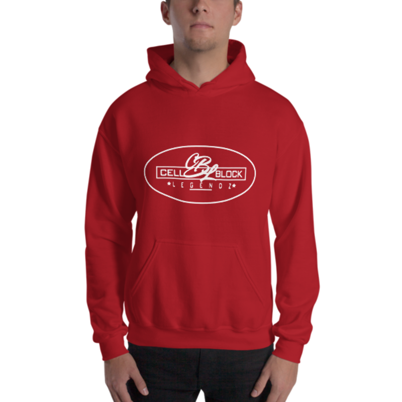 Men's Red Cell Block Legendz Logo In An Oval Heavy Blend Hooded Sweatshirt (Non-Inmate)