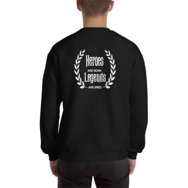 Men's Black Heroes Are Born - Legends Are Bred Heavy Blend Crewneck Sweatshirt (Non-Inmate)