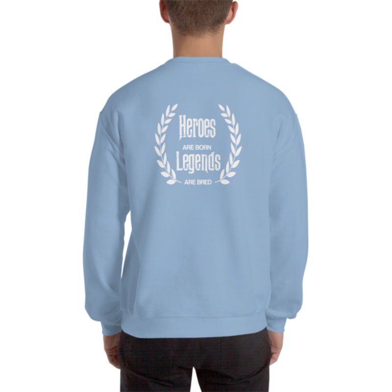 Men's Light Blue Heroes Are Born - Legends Are Bred Heavy Blend Crewneck Sweatshirt (Non-Inmate)