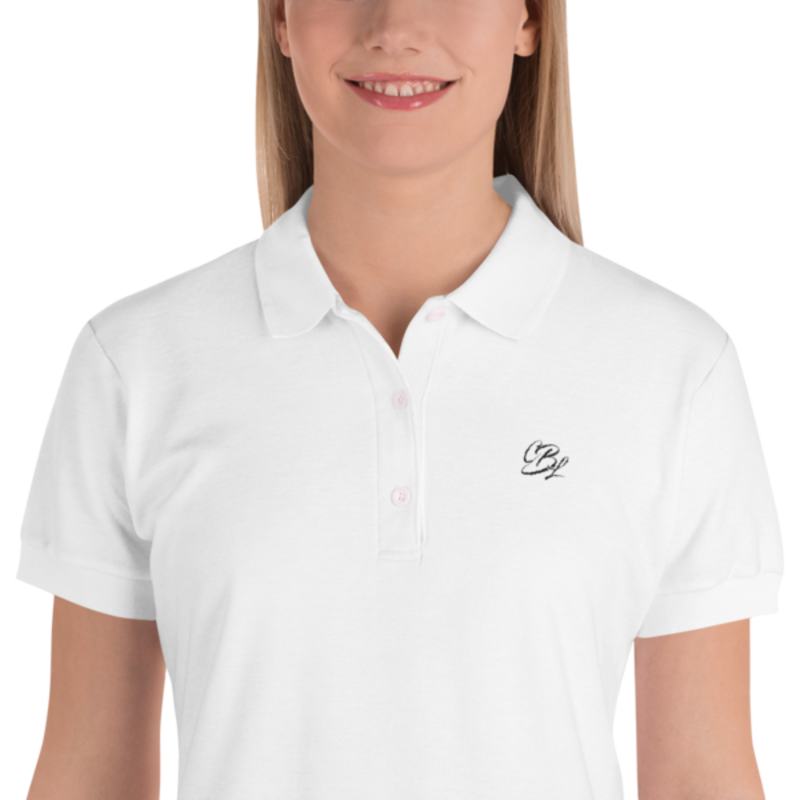 Women's White Embroidered Cell Block Legendz CBL Logo Premium Polo Shirt (Non-Inmate)